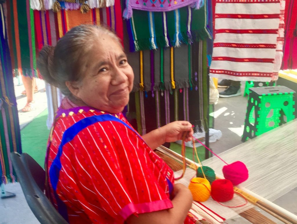Woman weaving in Puerto Vallarta, Mexico